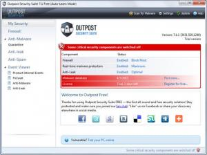 Enlarge Agnitum Outpost Security Suite Screenshot