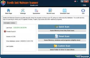 Enlarge EXEdb Anti Malware Scanner Screenshot