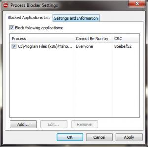 Enlarge Process Blocker Screenshot
