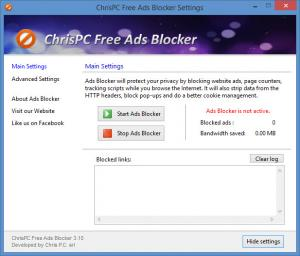 Enlarge ChrisPC Free Ads Blocker Screenshot