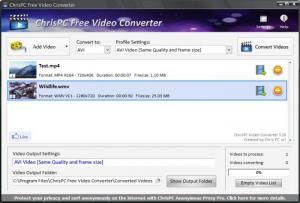 Enlarge ChrisPC Free Video Converter Screenshot
