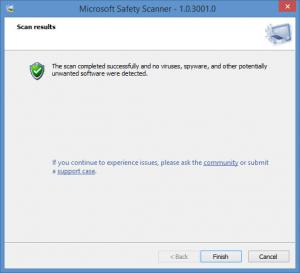 Enlarge Microsoft Safety Scanner Screenshot