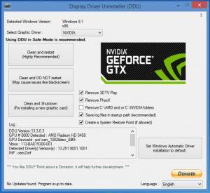 Enlarge Display Driver Uninstaller Screenshot