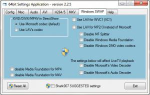 Enlarge STANDARD Codecs Screenshot