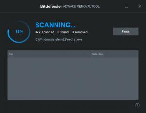 Enlarge Bitdefender Adware Removal Tool Screenshot