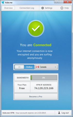 Enlarge Hide.me VPN Screenshot