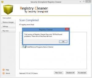 Enlarge Security Stronghold Registry Cleaner Screenshot
