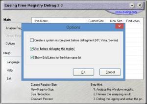 Enlarge Eusing Free Registry Defrag Screenshot