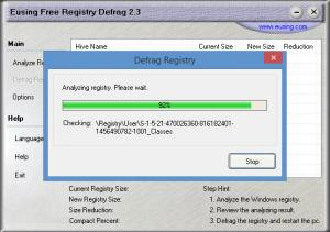 Enlarge Eusing Free Registry Defrag Screenshot