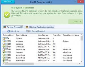 Enlarge Phrozen RunPE Detector Screenshot