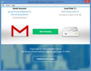 Enlarge UpSafe Gmail Backup Screenshot