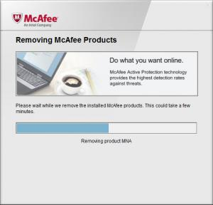 Enlarge McAfee Consumer Product Removal Tool Screenshot