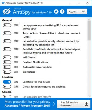 Enlarge Ashampoo Antispy Screenshot