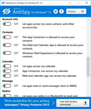 Enlarge Ashampoo Antispy Screenshot
