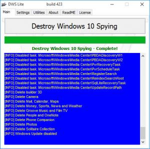 Enlarge Destroy Windows 10 Spying Screenshot