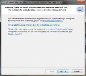 Enlarge Microsoft Malicious Software Removal Tool Screenshot