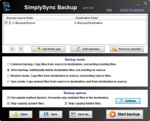 Enlarge SimplySync Backup Screenshot