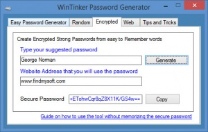 Enlarge WinTinker Password Generator Screenshot