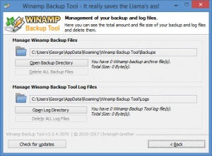 Enlarge Winamp Backup Tool Screenshot