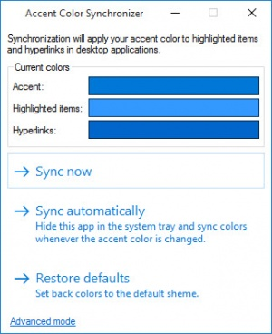 Enlarge Accent Color Synchronizer Screenshot