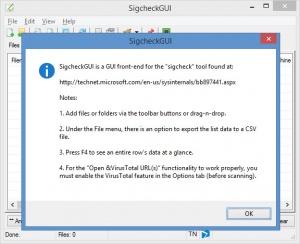 Enlarge SigcheckGUI Screenshot
