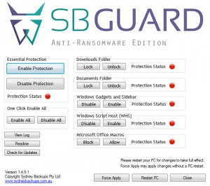 Enlarge SBGuard Anti-Ransomware Screenshot