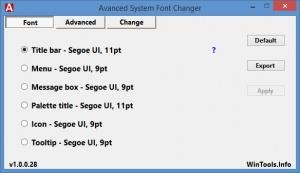Enlarge Advanced System Font Changer Screenshot