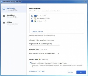 Enlarge Google Backup and Sync Screenshot