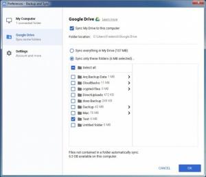 Enlarge Google Backup and Sync Screenshot