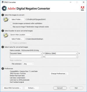 Enlarge Adobe DNG Converter Screenshot