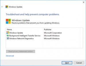 Enlarge Windows Update Troubleshooter Screenshot