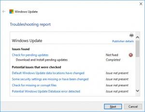 Enlarge Windows Update Troubleshooter Screenshot