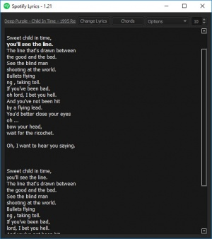 Enlarge Spotify Lyrics Screenshot