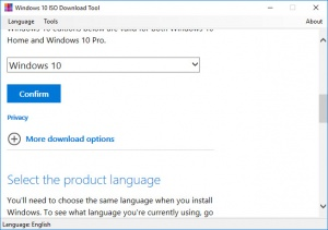 Enlarge Windows 10 ISO Download Tool Screenshot