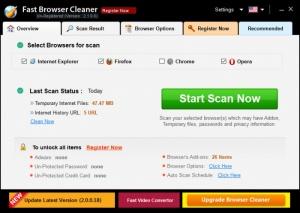Enlarge Fast Browser Cleaner Screenshot