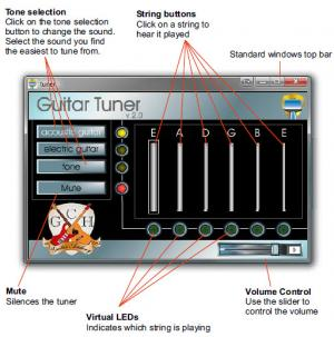 Enlarge Free Guitar Tuner Screenshot