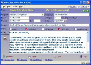 Enlarge Star Fax Cover Sheet Creator Screenshot