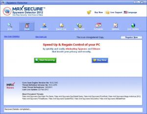 Enlarge Max Secure Spyware Detector Screenshot