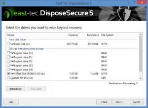 Enlarge East-Tec DisposeSecure Screenshot