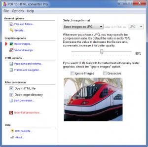 Enlarge PDF to HTML converter Screenshot