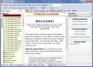 Enlarge AZZ  Cardfile Screenshot
