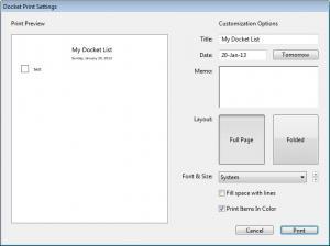 Enlarge Docket Screenshot