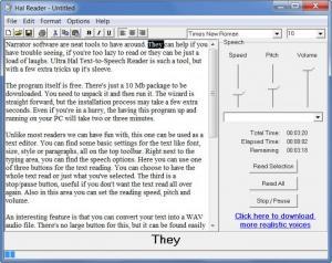 Enlarge Ultra Hal Text-to-Speech Reader Screenshot