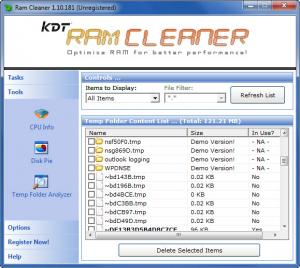 Enlarge KDT RAM Cleaner Screenshot