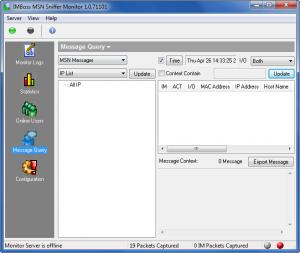 Enlarge IMBoss MSN Sniffer  Monitor Screenshot