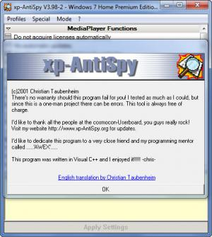 Enlarge XP-AntiSpy Screenshot