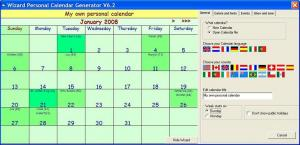 Enlarge Calendar  Wizard Screenshot