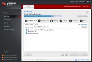 Enlarge Comodo  BackUp Screenshot