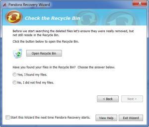 Enlarge Pandora  Recovery Screenshot