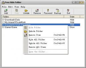 Enlarge Free Hide  Folder Screenshot